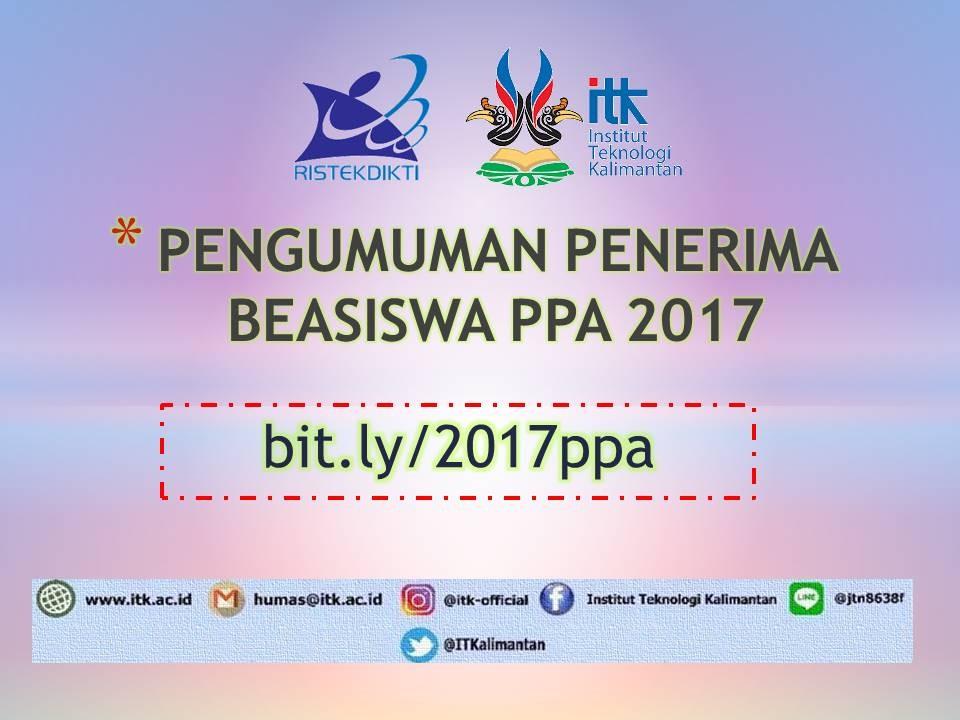 PENGUMUMAN PENERIMA BEASISWA PPA 2017