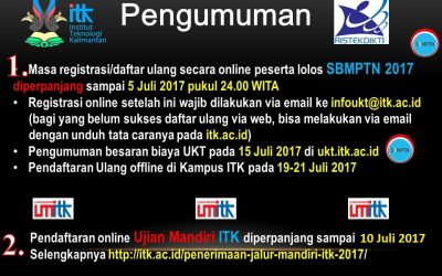 Perpanjangan Masa Registrasi SBMPTN dan Ujian Mandiri ITK 2017