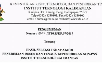 Pengumuman Hasil Seleksi Tahap Akhir Penerimaan Dosen dan Tendik ITK Tahun 2017