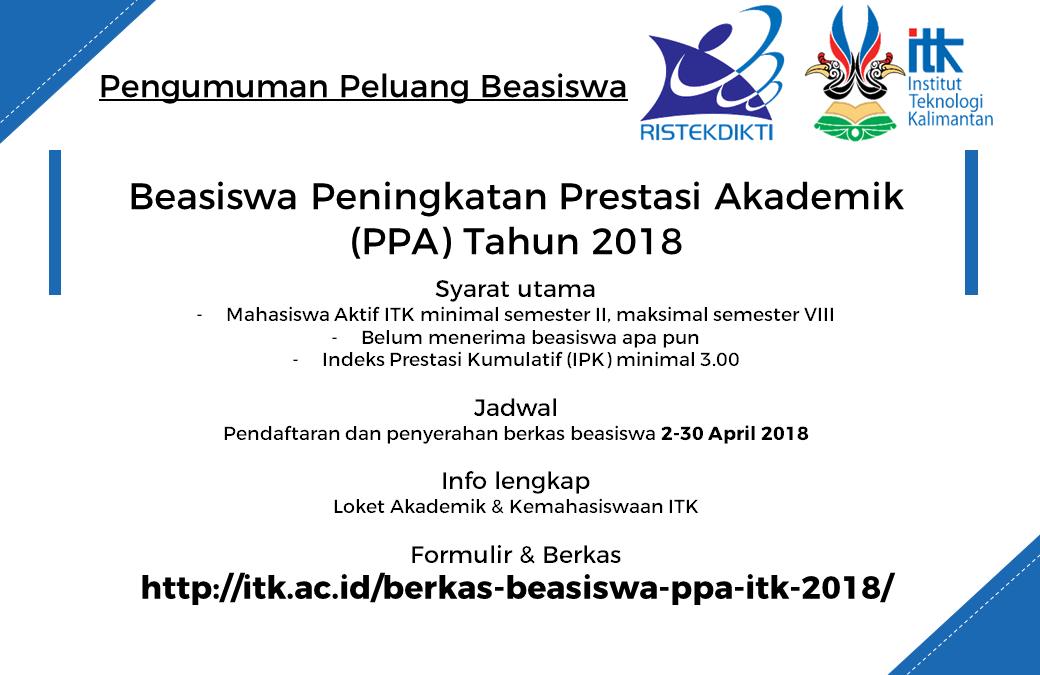 Beasiswa PPA ITK Tahun 2018