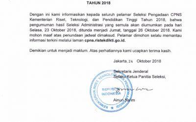 Penundaan Pengumuman Hasil Seleksi Administrasi CPNS Kemenristekdikti 2018