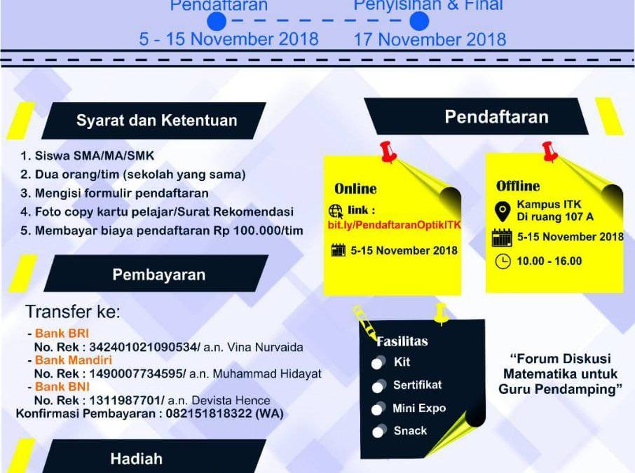 Olimpiade Matematika ITK Tingkat SMA/SMK/MA Se-Balikpapan 2018