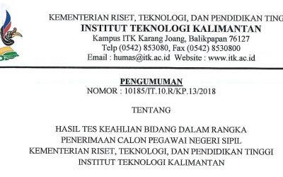Pengumuman Hasil Tes Keahlian Bidang CPNS Kemenristekdikti-ITK 2018