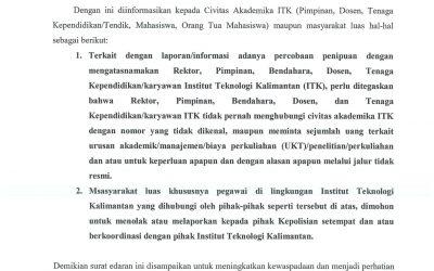 Surat Edaran Waspada Penipuan di Lingkungan Kampus ITK