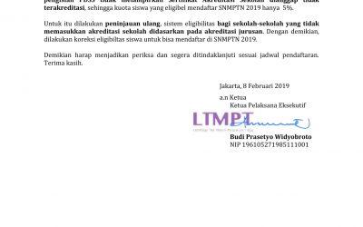 Surat Edaran LTMPT Kepada SMK Pada SNMPTN 2019