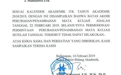 Batas Akhir Perubahan/Penambahan Mata Kuliah Semester Genap TA 2018/2019