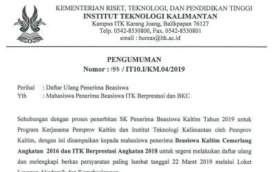 Daftar Ulang Penerima Beasiswa ITK Prestasi dan BKC 2019