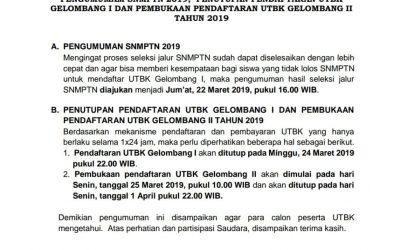 Pengumuman LTMPT Terkait SNMPTN, UTBK Gelombang 1, dan 2 Tahun 2019