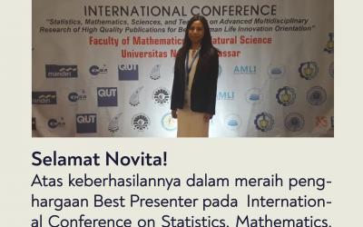 Mahasiswa ITK Berhasil Meraih Penghargaan Best Presenter di International Conference on Statistics, Mathematics, Research, and Teching 2019