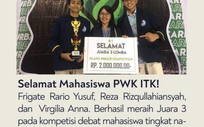 Mahasiswa ITK Berhasil Meraih Juara 3 pada Kompetisi Debat Mahasiswa di Universitas Hasanuddin