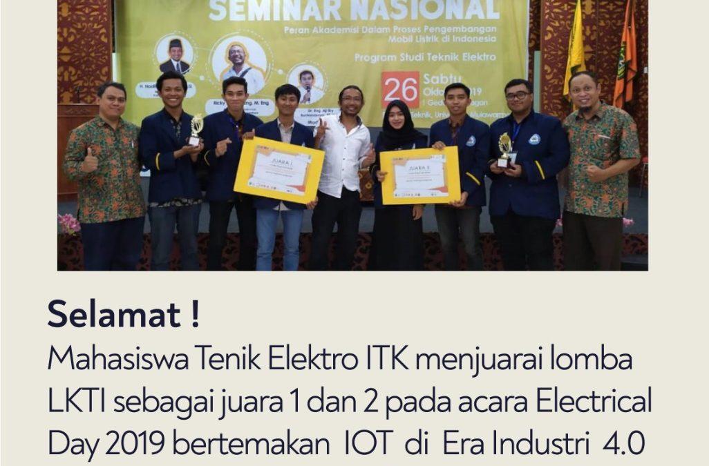 Mahasiswa ITK, Juara 1 dan 2 Pada Acara Electrical Day 2019 di Universitas Mulawarman