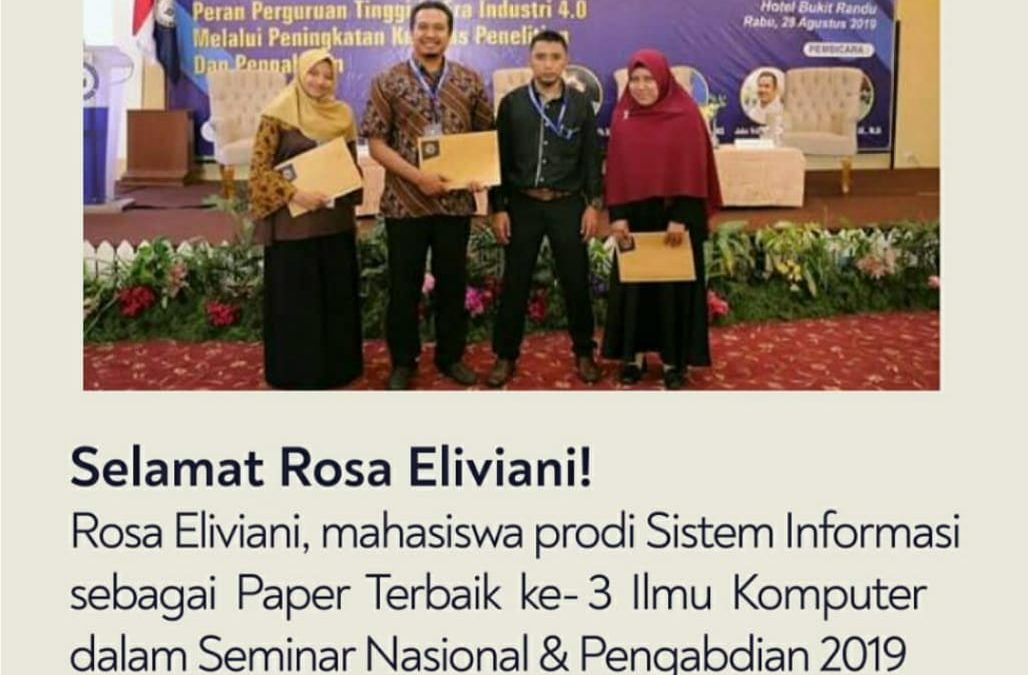 Membanggakan, Mahasiswa ITK meraih Best Paper Ke-3  Ilmu Komputer di Bandar Lampung
