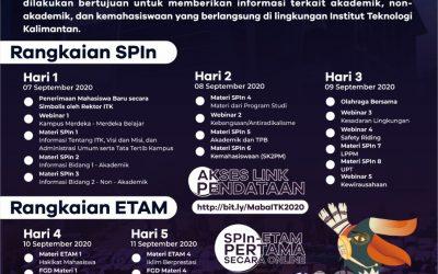 PERDANA! SPIn – ETAM Institut Teknologi Kalimantan Tahun 2020 Secara Daring